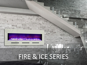 amantii fire and ice series electric wall mount fireplace